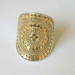 NWT Anna Beck Sterling 14k Gold Saddle  Ring 6